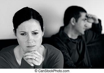Couple relationship - concept photo - Portrait of unhappy...