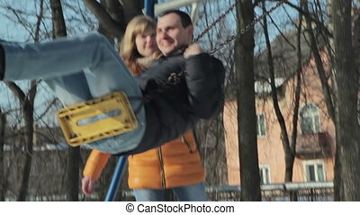 Couple relaxing on the park