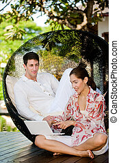 Couple Relaxing Outdoors
