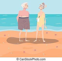 couple, repos, vecteur, illustration, plage, avoir, old-aged