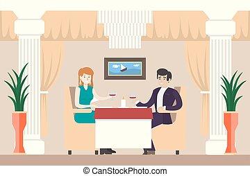 couple, restaurant.