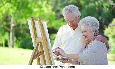 couple retiré, peinture, ensemble