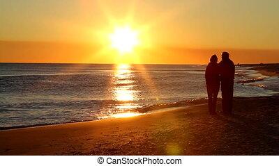 couple, retraite, coucher soleil