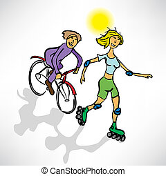 Couple riding a bike and roller
