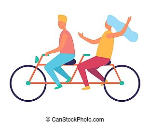 Couple Riding on Tandem or Twin Bicycle Isolated - Couple...