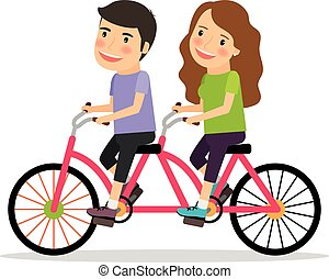 Couple riding tandem bicycle. Young people couple riding...