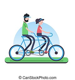 Couple riding tandem bike for environment help