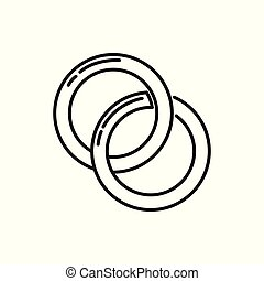Couple Rings Thin Line Icon Illustration Design