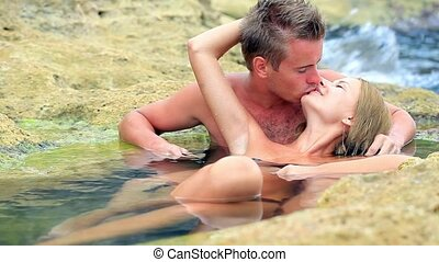 couple, rivage, mer, aimer