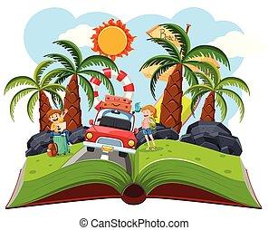 Couple roadtrip pop up book,