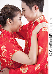 couple, robe, chinois