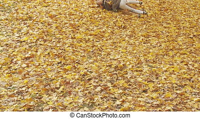couple rolling down foliage