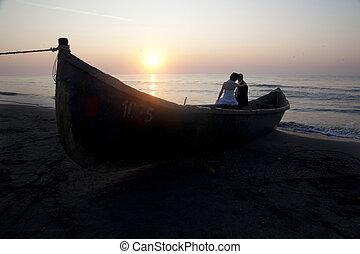 Wedding Dress, Sunset - Couple, Romance, Beach, Love,...
