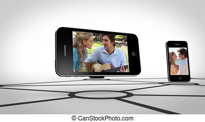 Couple romance on smartphone screen