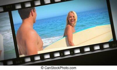 couple, romantique, bord mer, montage