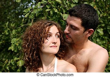 couple, romantique, dehors