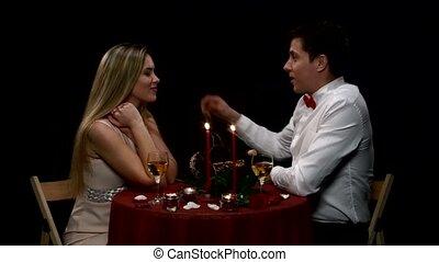 couple, romantique, evening., jeune, haut fin, agréable, avoir