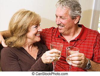 couple, romantique, mûrir