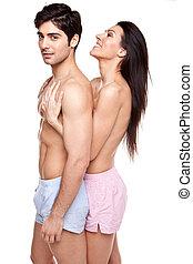 couple, romantique, topless