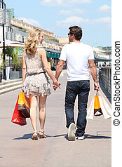 couple, rue, achats