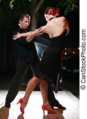 couple, rue, night., danse
