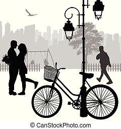 couple, rue, silhouette, romantique