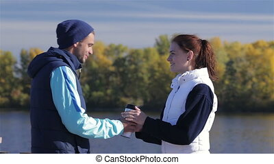 Couple runners with coffee go together