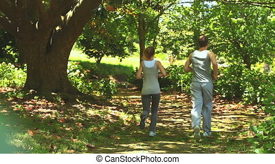 Couple running in a wood