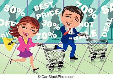 Couple Running Shopping Sale Window Shop Cart