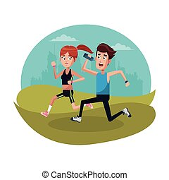 couple running sport landscape