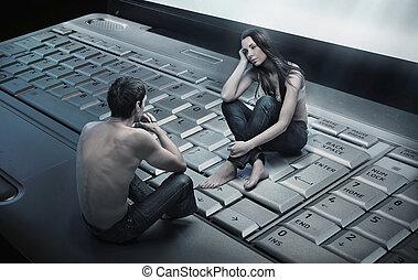 couple, séance, conceptuel, ordinateur portable, photo