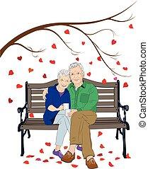 couple, séance, personnes agées, banc