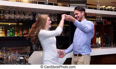 couple, séduisant, danse