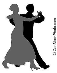 Couple salsa tango dancers