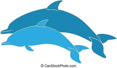 couple, sauter, dauphins