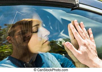 Couple Saying Goodbye Before Car Travel