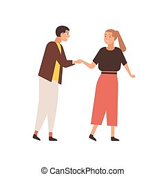Couple saying goodbye flat vector illustration. Young girl trying to escape from annoying boyfriend. Nerdy looking guy courting beautiful lady. Unrequited love, romantic addiction concept.