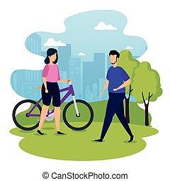couple, scène urbaine, jeune, vélo