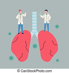 couple scientifics with lungs and covid19 particles research...