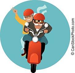 couple, scooter, mûrir