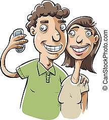 Couple Selfie - A friendly cartoon couple takes a snapshot...