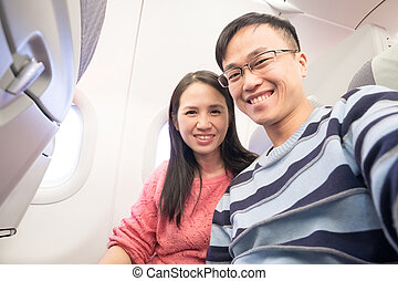 couple, selfie, avion