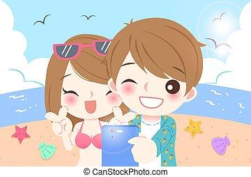 couple selfie in beach