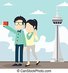 couple selfie in cn tower