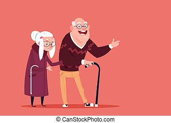 Couple Senior People Walking With Stick Modern Grandfather...