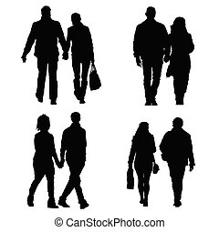 couple set vector silhouette