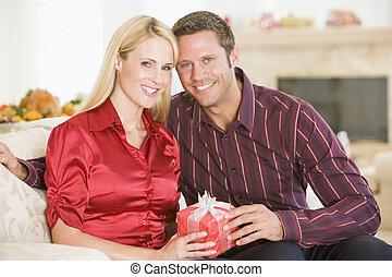Couple Sharing Christmas Present