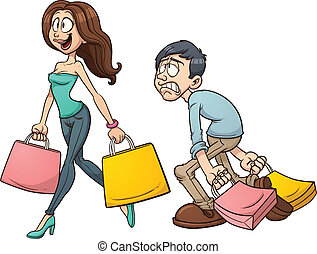 Couple shopping - Cartoon couple shopping. Vector clip art ...