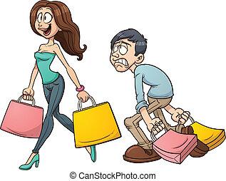 Couple shopping - Cartoon couple shopping. Vector clip art ...