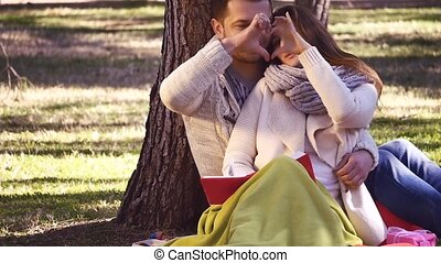 Couple showing heart with their hands sitting in the park in...